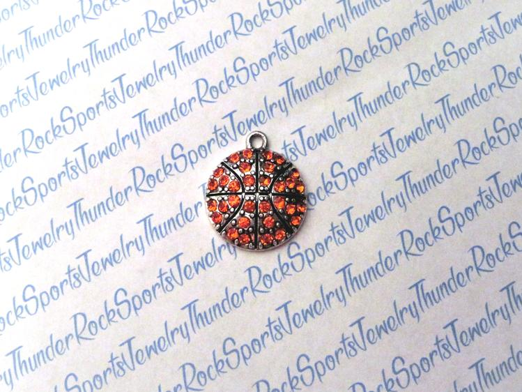 Basketball Crystal Silver Pendant