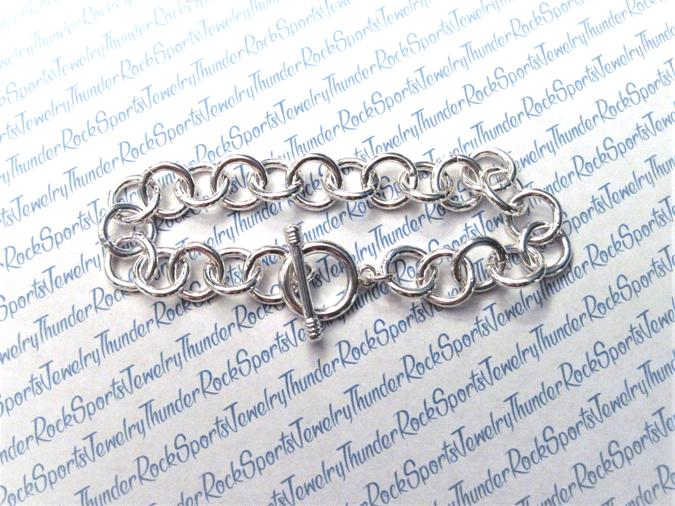 3 Silver Charm Bracelets with Toggle Clasp