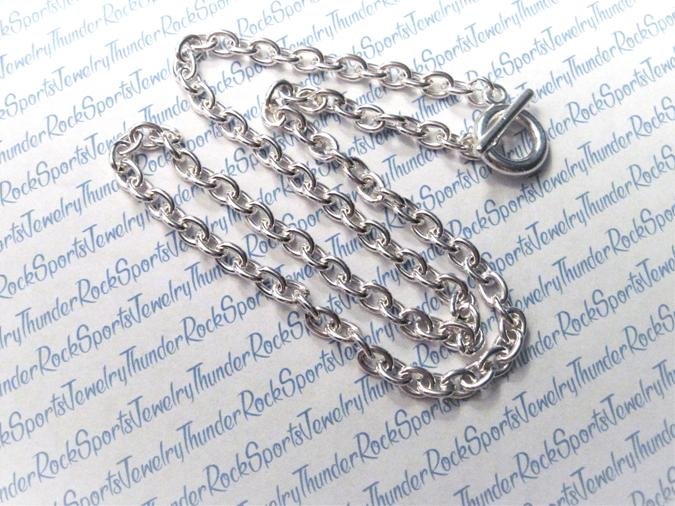 3 Silver Necklace Chains with Toggle Clasp