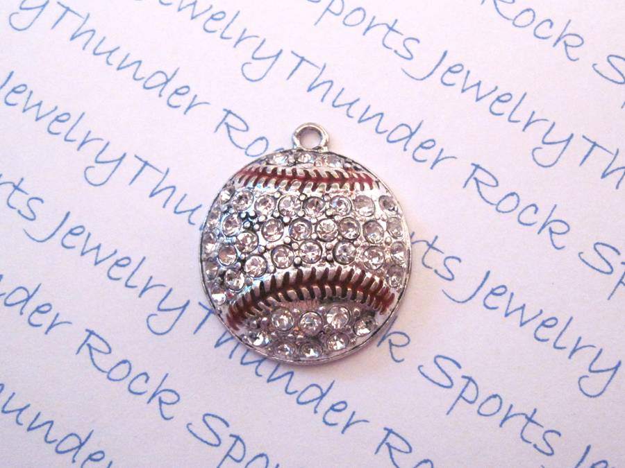 3 Baseball Charms Crystal Silver Large Pendants