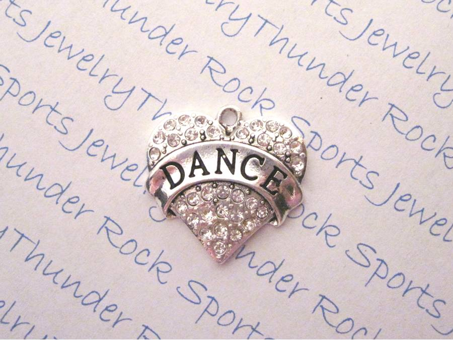3 Dance Charms Crystal Silver Heart Pendants
