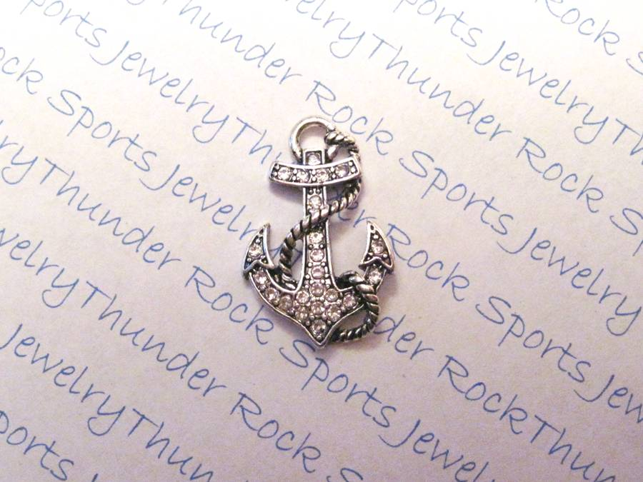 3 Anchor Charms Crystal Silver Pendants
