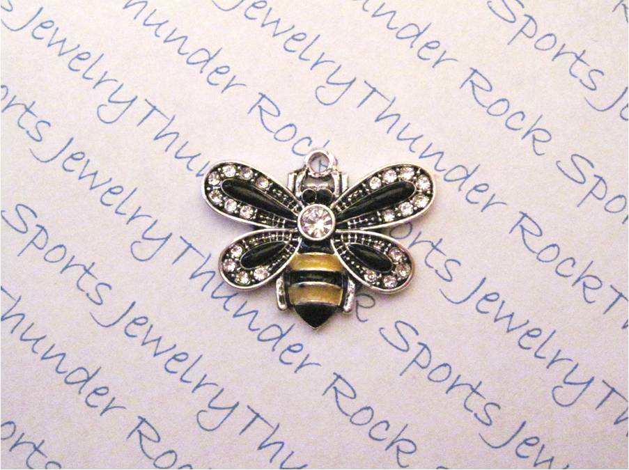 3 Bumble Bee Charms Crystal Silver Pendants