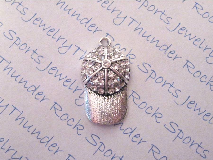 3 Baseball Ball Cap Charms Crystal Silver Pendants