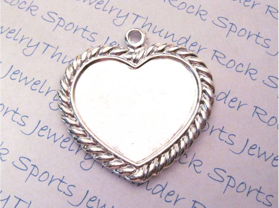 3 Silver Large Heart ~ Shaped Pendant Blanks with Bezel