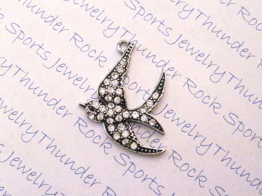 3 Flying Bird Charms Crystal Silver Pendants