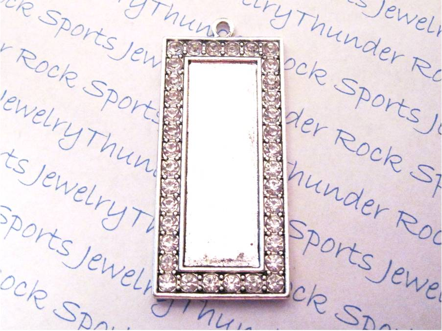 3 Antique Silver Long Rectangle Pendant Blanks with Bezel