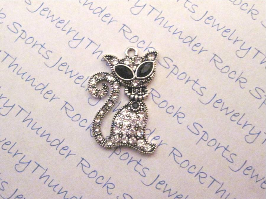 3 Cat Charms Crystal Silver Pendants