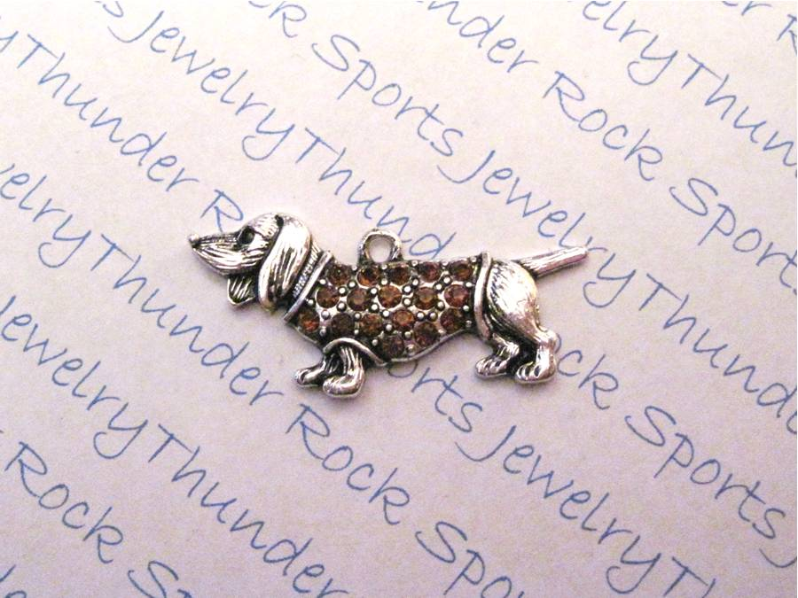3 Dachshund Charms Crystal Silver Pendants