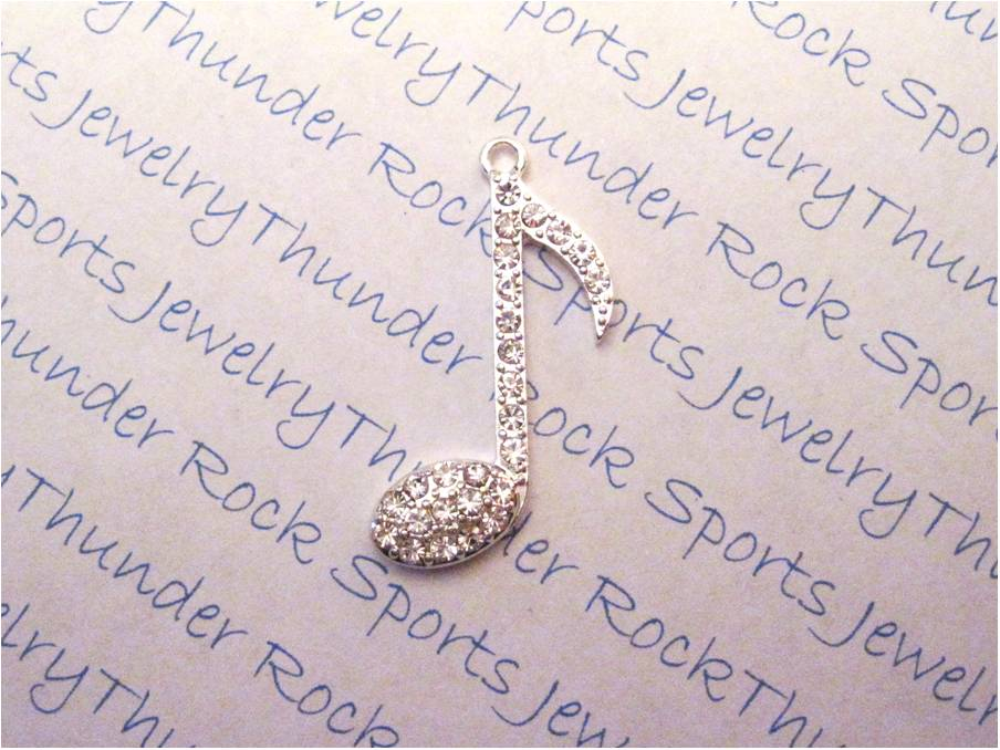 3 Eighth Note Charms Crystal Silver Pendants