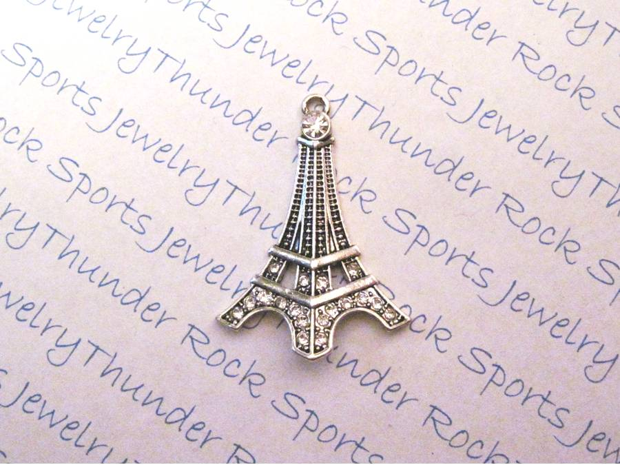 3 Eiffel Tower Charms Crystal Silver Pendants