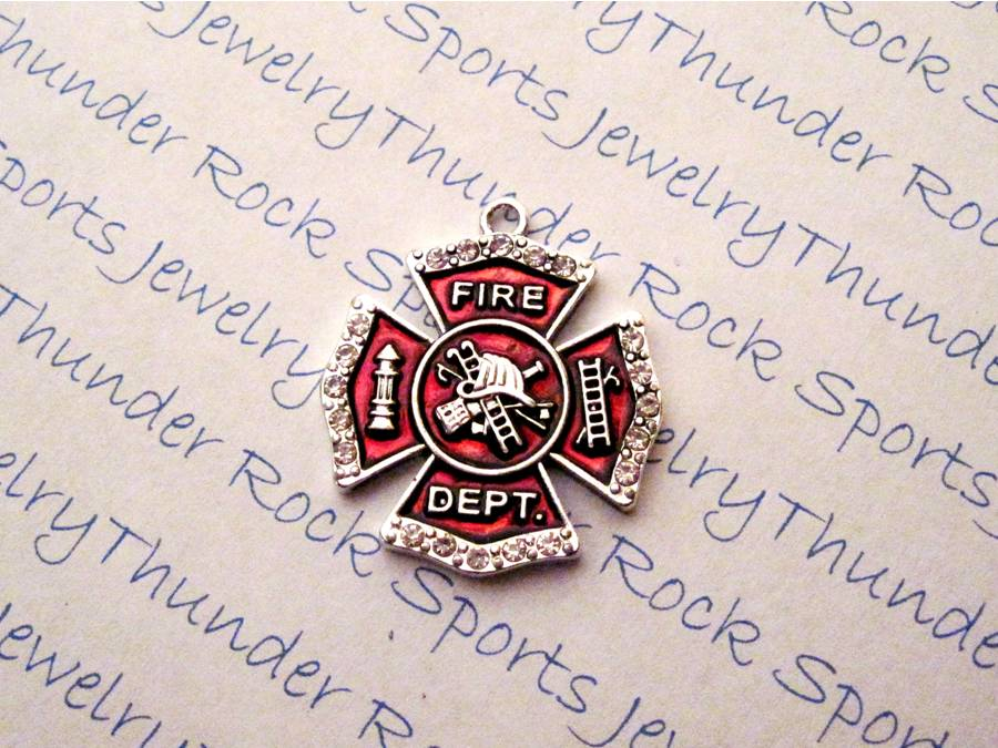 3 Firefighter Maltese Cross Charms Red Enamel Crystal Pendants