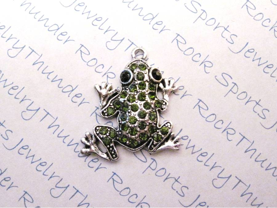 3 Frog Charms Green Crystal Silver Pendants