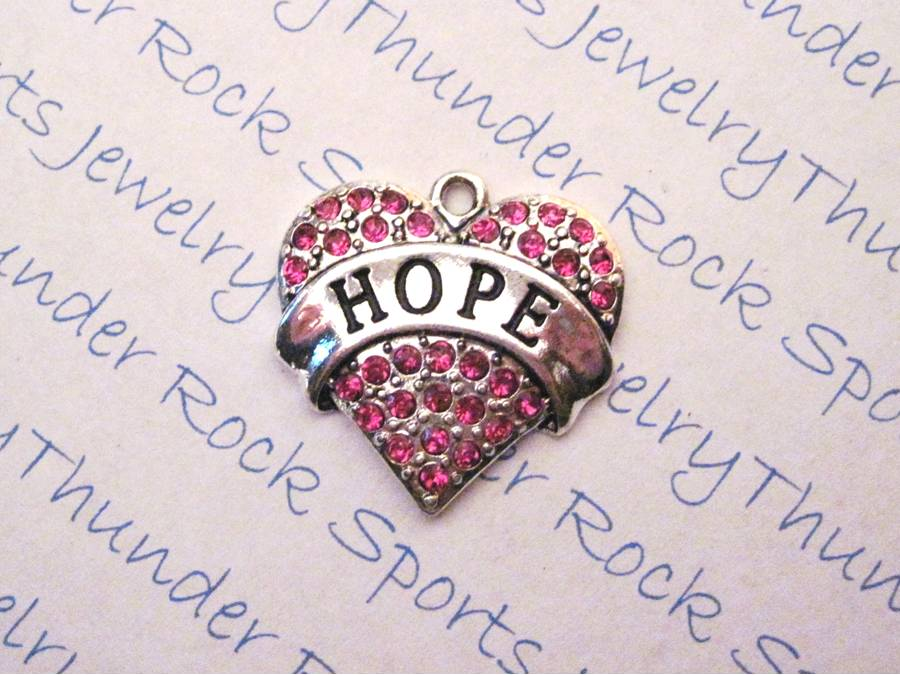 3 Hope Charms Pink Crystal Silver Pendants