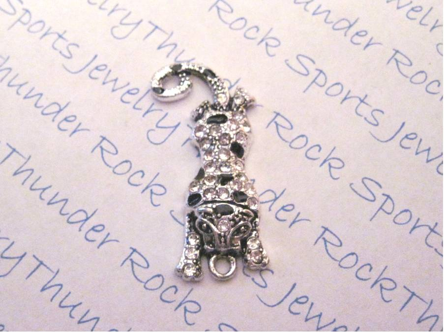 3 Jaguar Charms Crystal Silver Pendants