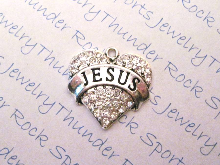 3 Jesus Charms Crystal Silver Heart Pendants