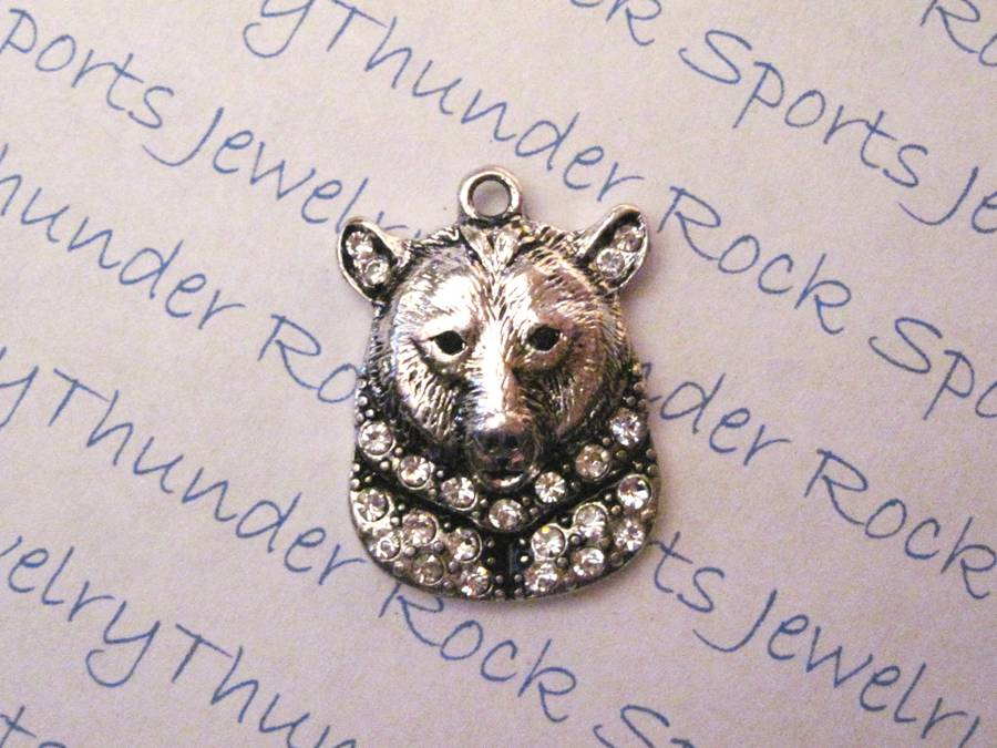 Bear Head Charm Crystal Silver Pendant