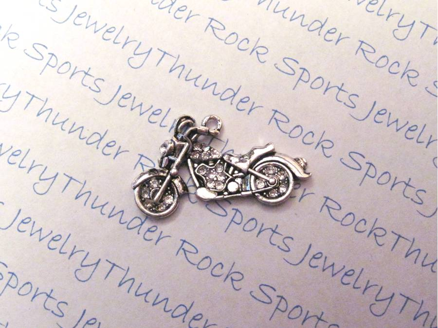 3 Motorcycle Charms Crystal Silver Pendants