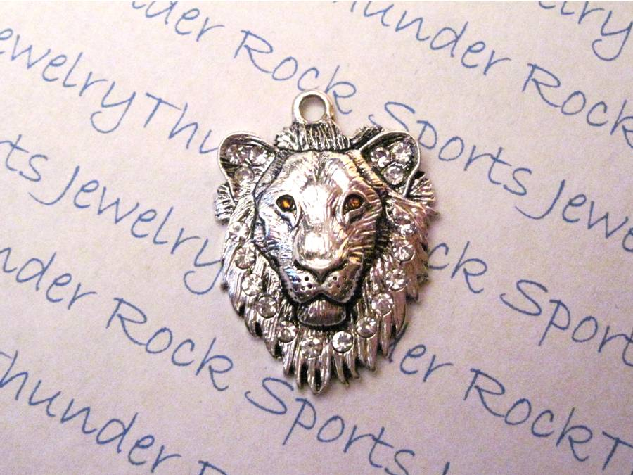 3 Lion Head Charms Crystal Silver Pendants