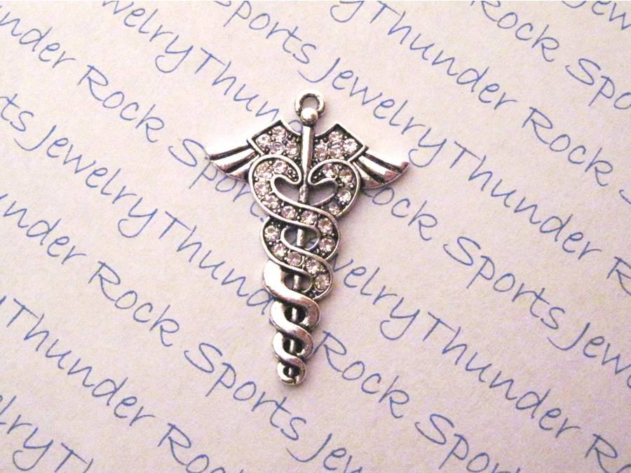 3 Caduceus Medical Symbol Charms Crystal Silver Pendants