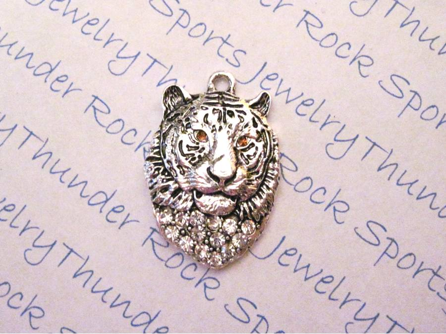 3 Tiger Head Charms Crystal Silver Pendants