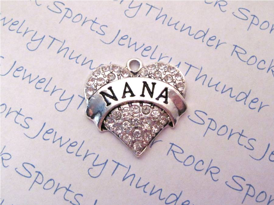 3 Nana Charms Crystal Silver Heart Pendants