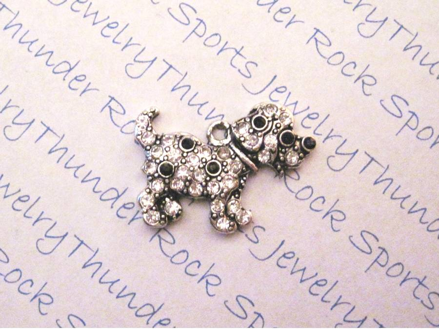 3 Spotted Puppy Dog Charms Crystal Silver Pendants