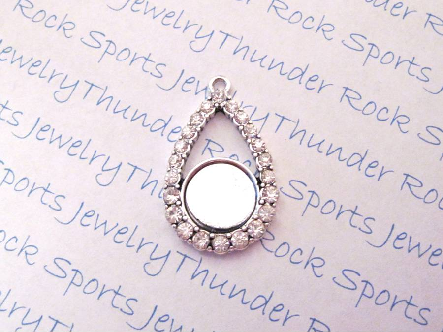 Antique Silver Plated Teardrop ~ Shaped Pendant Blank with Bezel