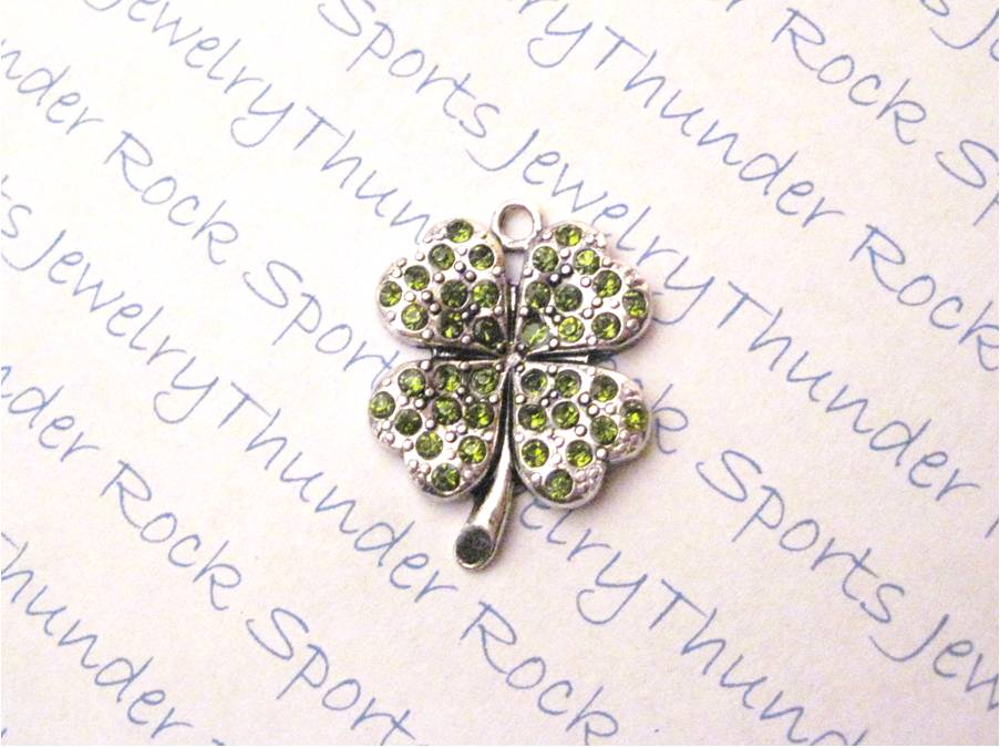 3 Four~Leaf Clover Charms Green Crystal Silver Shamrock Pendants
