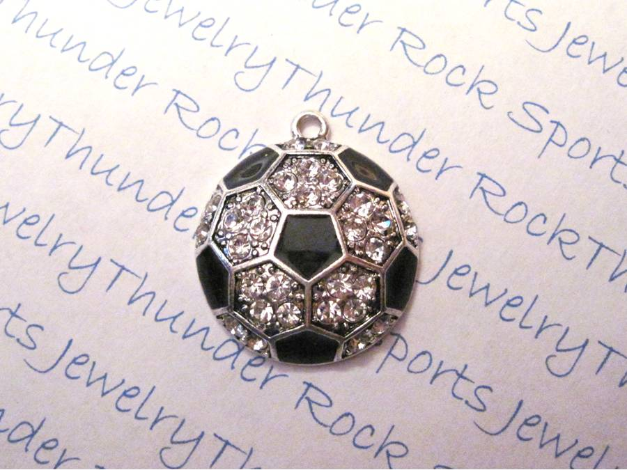 3 Soccer Charms Crystal Silver Large Pendants