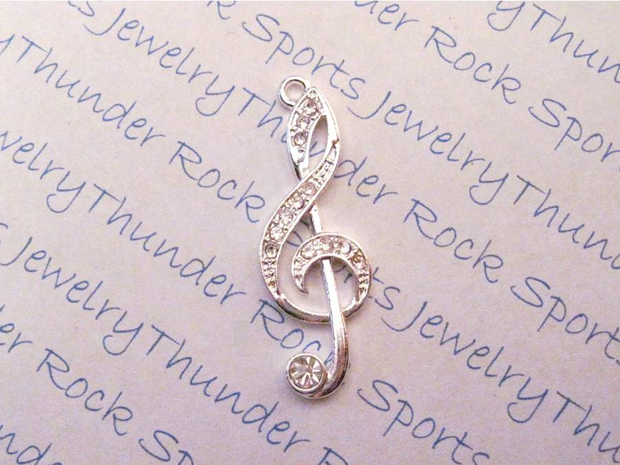 3 Treble Clef Charms Crystal Silver Pendants