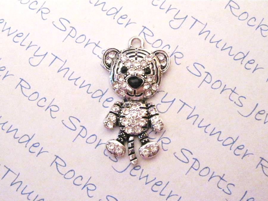 3 Tiger Baby Charms Crystal Silver Pendants