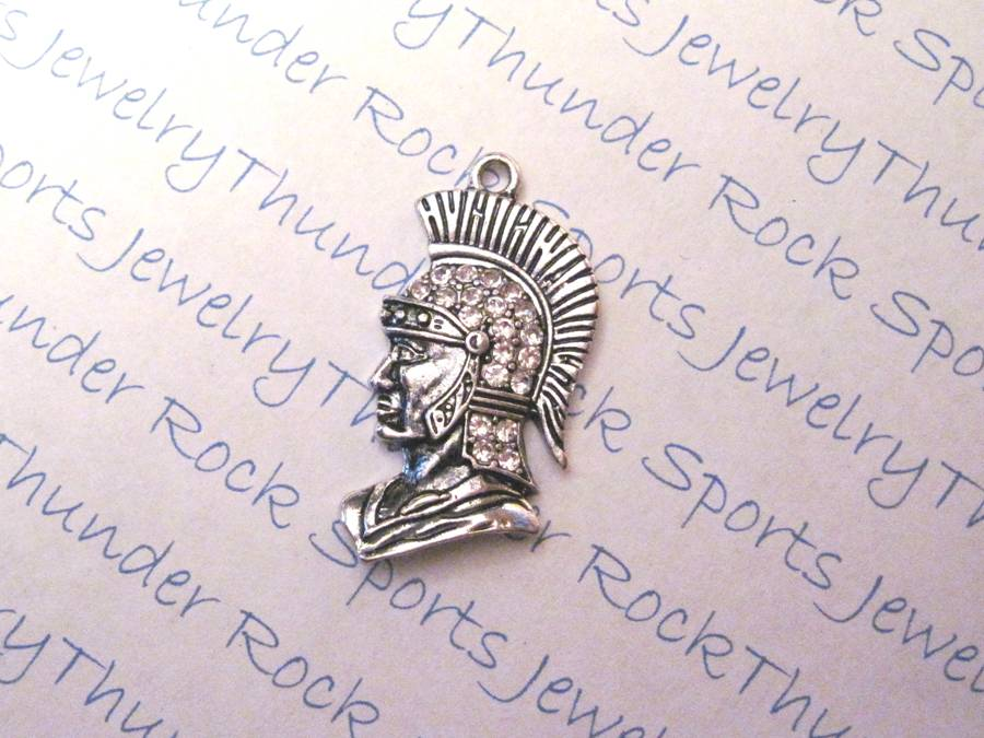 3 Trojan or Spartan Charms Crystal Silver Pendants