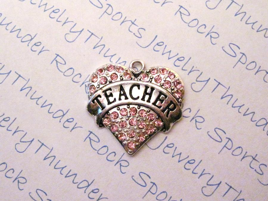3 Teacher Charms Pink Crystal Silver Heart Pendants