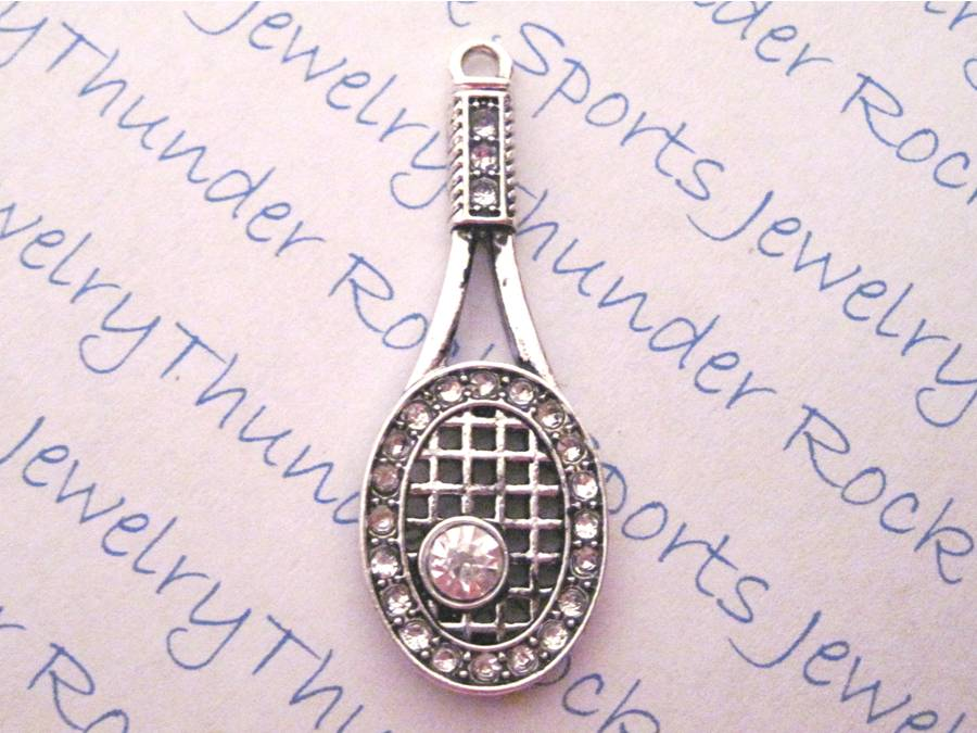 Tennis Racquet and Ball Crystal Pendant