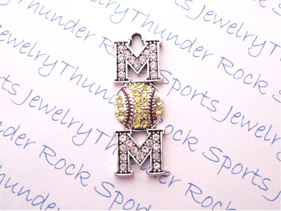 3 Softball Mom Charms Crystal Silver Pendants