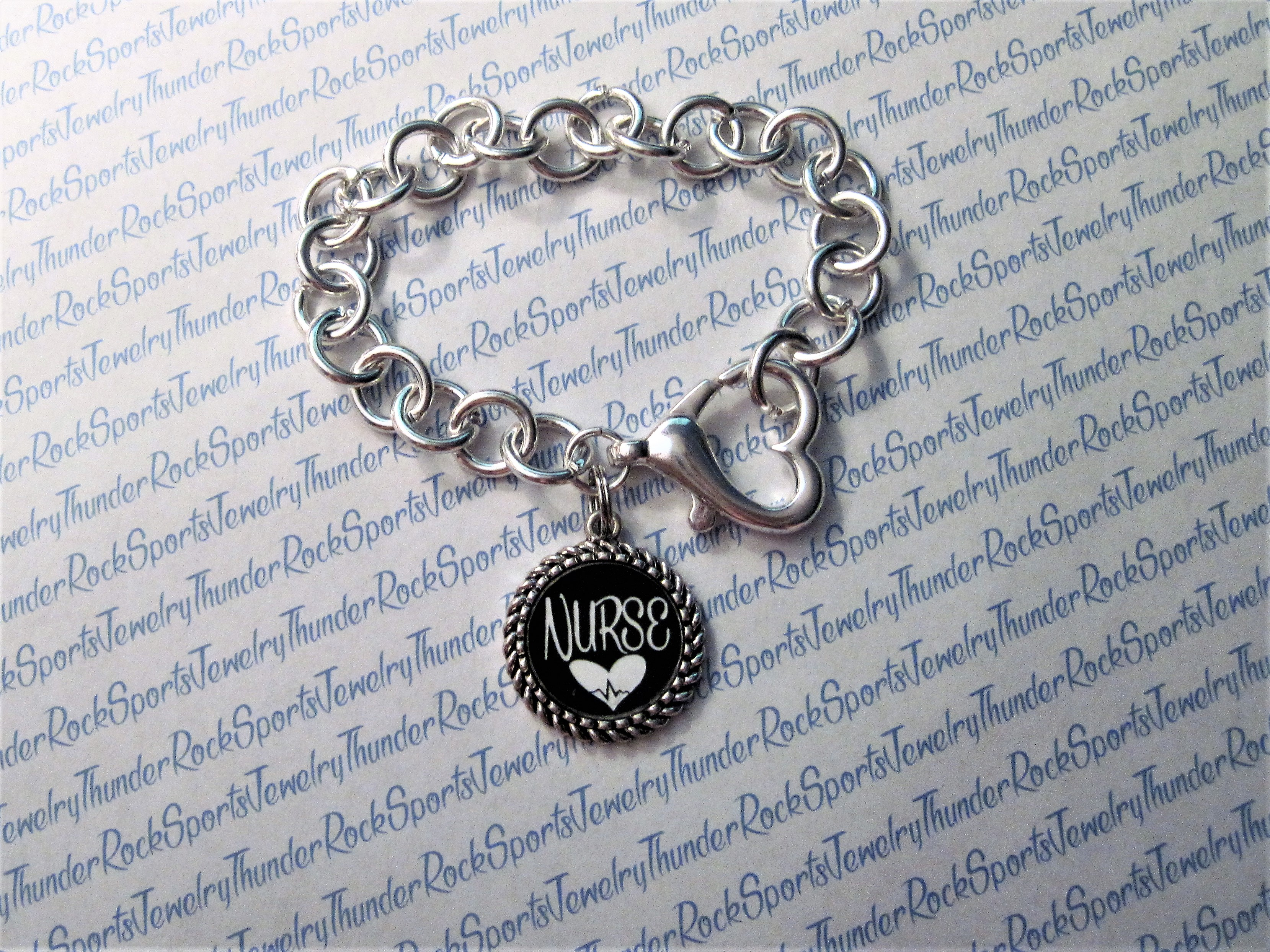 Personalized Silver Charm Bracelet with Heart Clasp