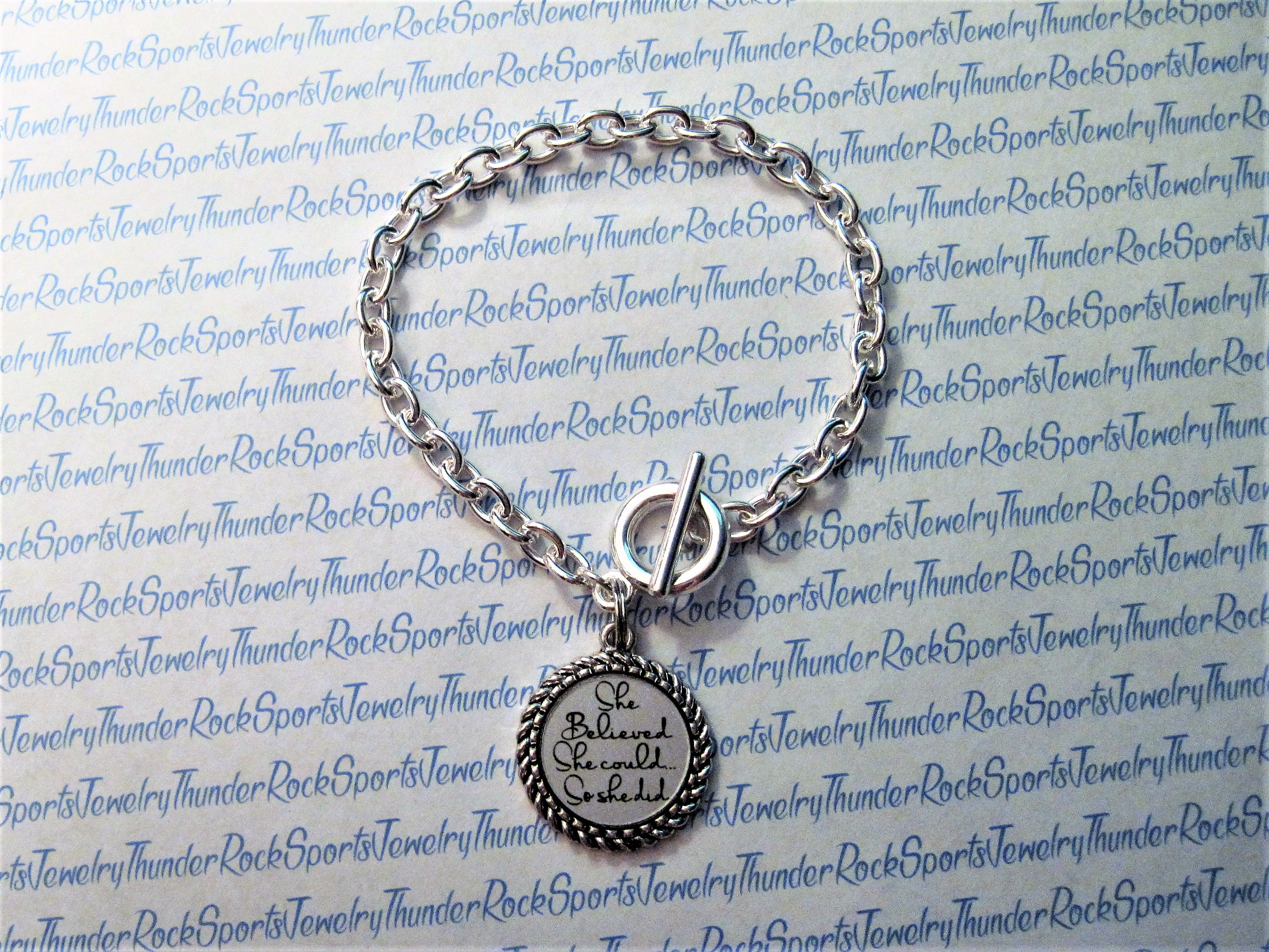 Personalized Silver Charm Bracelet with Toggle Clasp