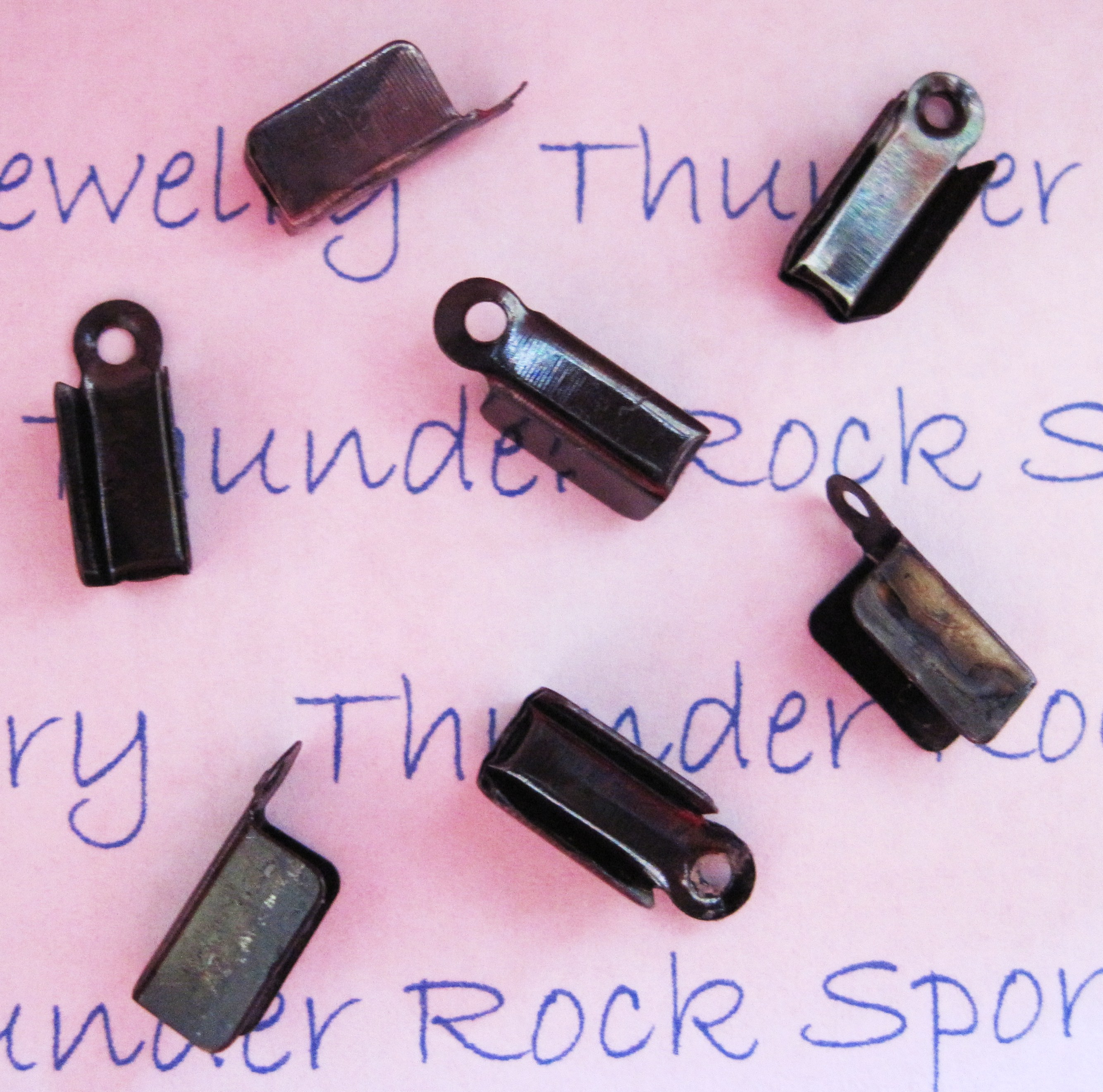 Black Gunmetal Cord End Crimps 12mm
