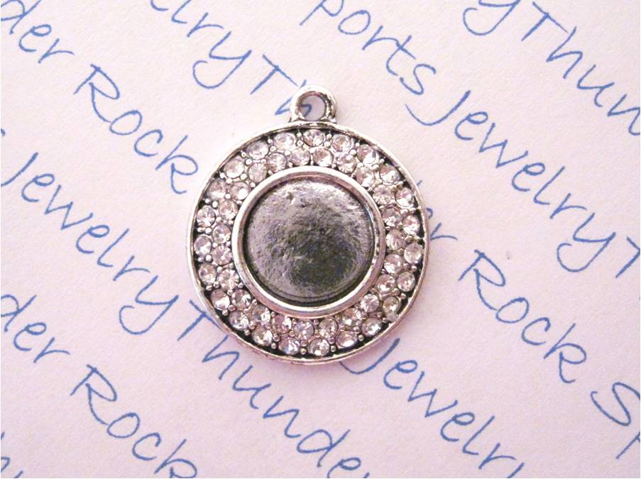 Antique Silver Plated Blank Pendant with 11mm Round Bezel