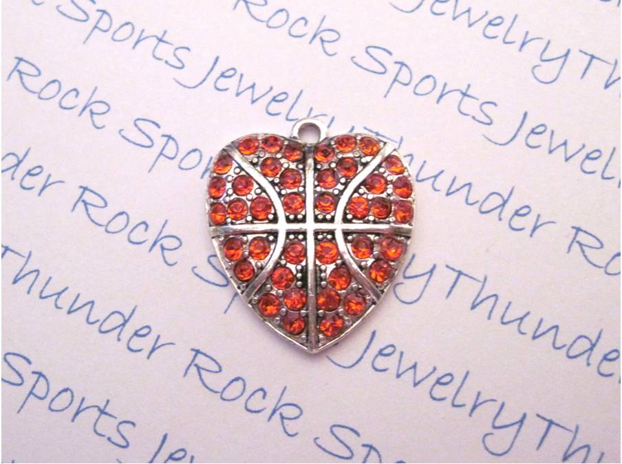 3 Basketball Charms Crystal Silver Heart Pendants