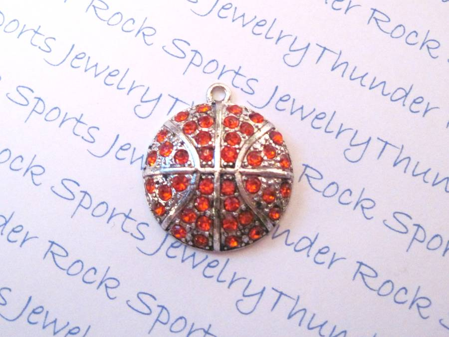 3 Basketball Charms Crystal Silver Large Pendants