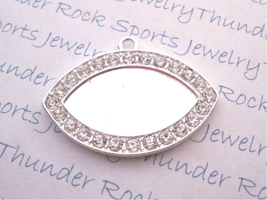 Silver Plated Oval Pendant Bezel Blank Framed with Crystals