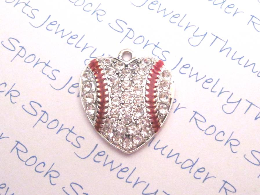 3 Baseball Charms Crystal Silver Heart Pendants