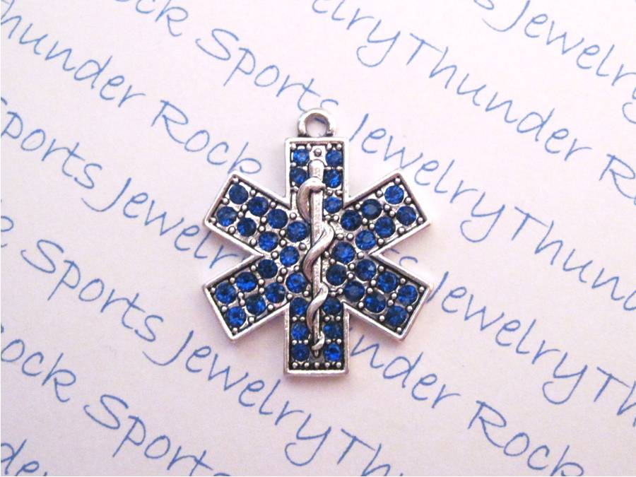 3 EMT Emergency Medical Technician Charms Blue Crystal Pendants