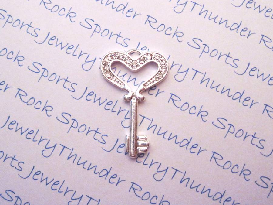 3 Key Charms Crystal Silver Pendants