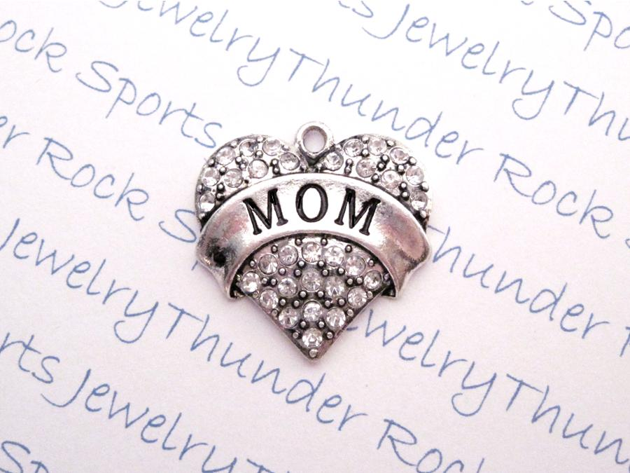 Mom Crystal Heart Pendant