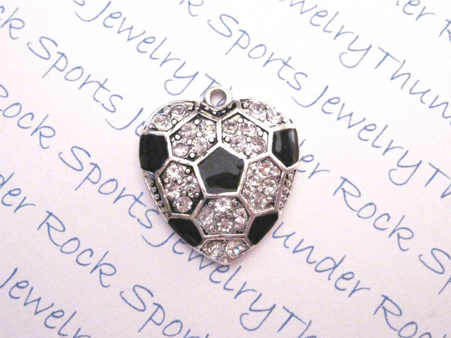 3 Soccer Charms Crystal Silver Heart Pendants