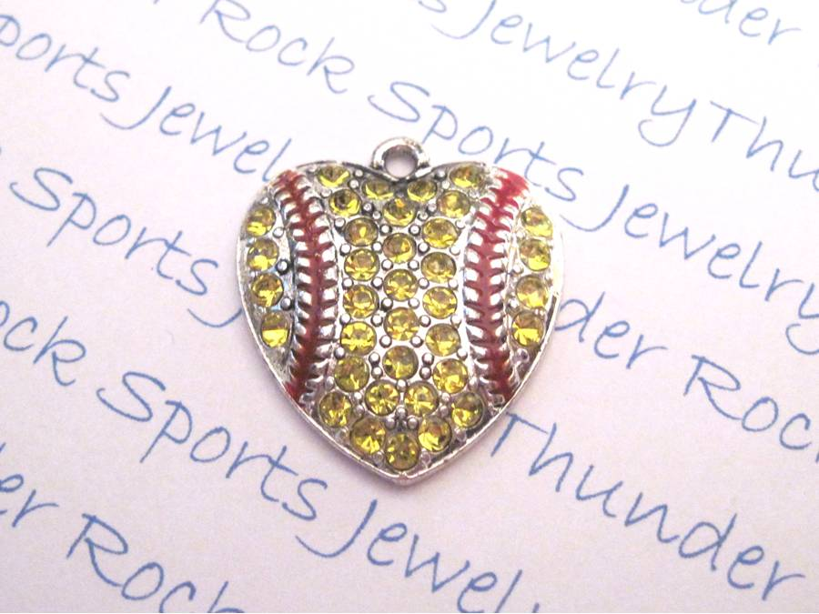 3 Softball Charms Crystal Silver Heart Pendants