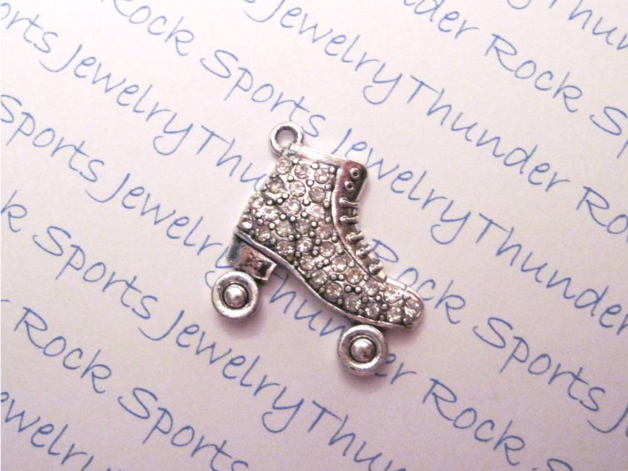 3 Roller Skate Charms Crystal Silver Pendants